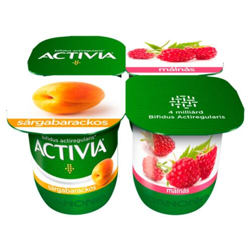 Danone Activia élőflórás, zsírszegény sárgabarackos és málnás joghurt 4 x 125 g (500 g)
