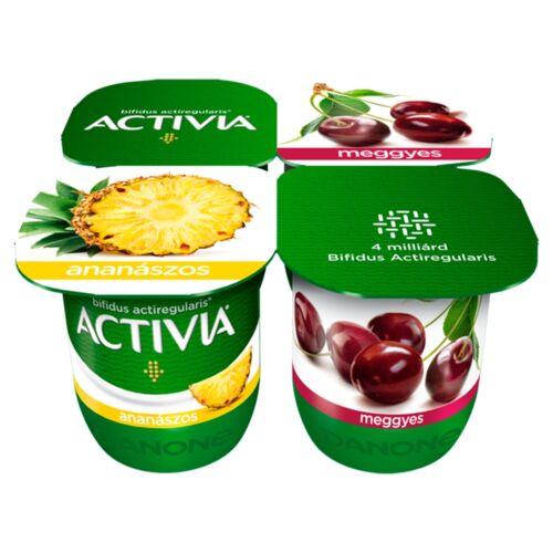 Danone Activia élőflórás, zsírszegény ananászos és meggyes joghurt 4 x 125 g (500 g)