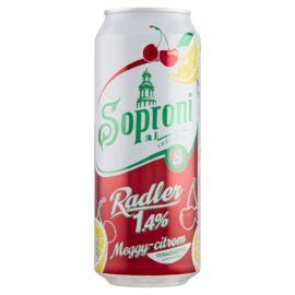 Soproni Radler meggy-citromos sörital 1,4% 0,5 l doboz